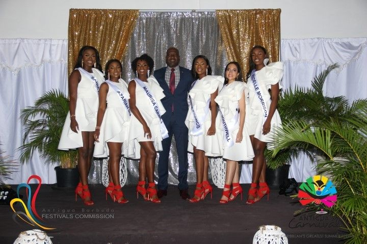B2ap3 Large Miss Antigua Queen Of Carnival Delegates With Minister Of National Festivals Hon. Daryll Matthew Small